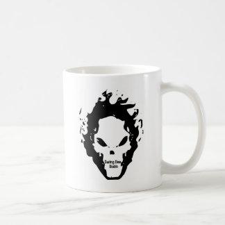 """Swing Dee Diablo""""Fire Skull""""Logo Basic White Mug"""