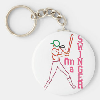 Swinger Girl Basic Round Button Key Ring