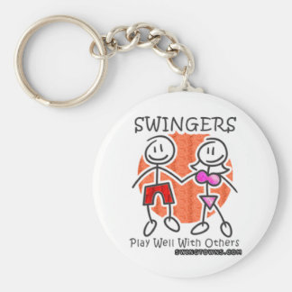 Swingers Play Well Together Basic Round Button Key Ring