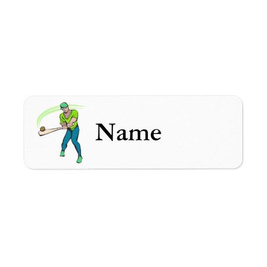 Swinging bat baseball player return address label