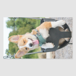 swinging corgi rectangular sticker