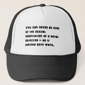 Swinging detector trucker hat