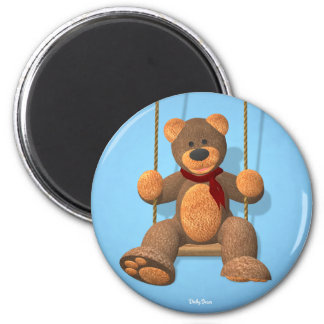 Swinging Dinky Bear 6 Cm Round Magnet
