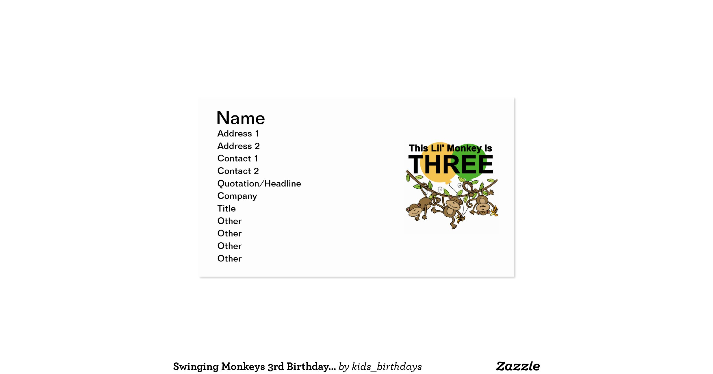 Swinging monkeys 3rd birthday tshirts and gifts double for Business cards for t shirt business