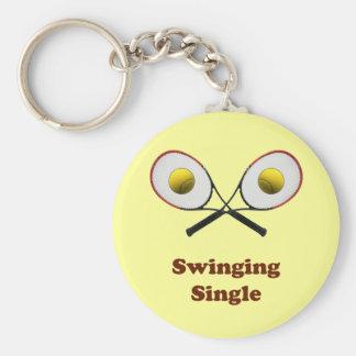 Swinging Single Tennis Basic Round Button Key Ring