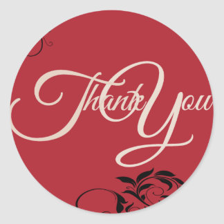 Swir Thank You Label Seal - Wedding Black and Red Classic Round Sticker