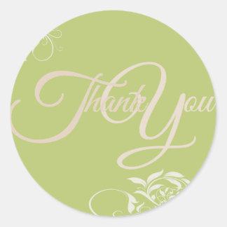 Swir Thank You Label Seal - Wedding Green Round Sticker