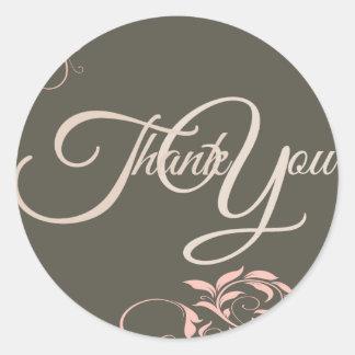 Swir Thank You Label Seal - Wedding Pink black Round Stickers