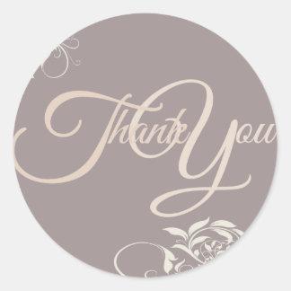 Swir Thank You Label Seal - Wedding Purple Round Sticker