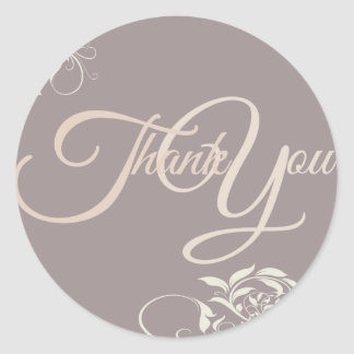 Swir Thank You Label Seal - Wedding Purple Classic Round Sticker