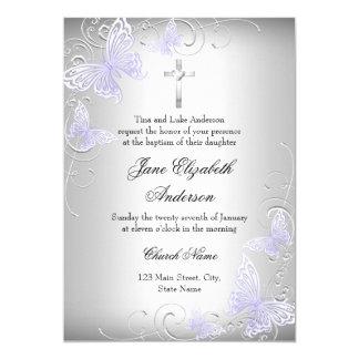 Swirl Butterfly & Cross Purple Baptism Invite