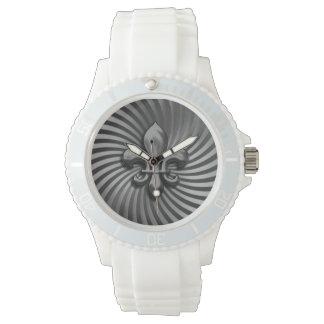 Swirl Fleur de Lis Grey Watch