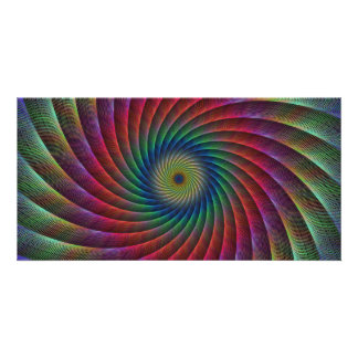 Swirl fractal customized photo card