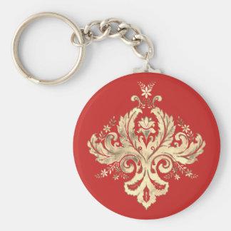 Swirl Golden Mandala Key Ring