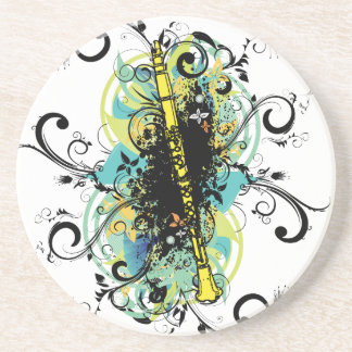 Swirl Grunge Clarinet Beverage Coasters