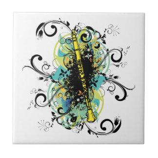 Swirl Grunge Clarinet Ceramic Tile