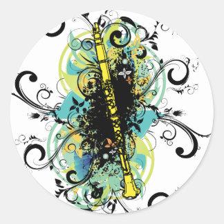 Swirl Grunge Clarinet Round Sticker