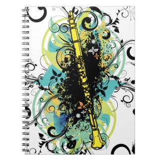 Swirl Grunge Clarinet Spiral Note Books
