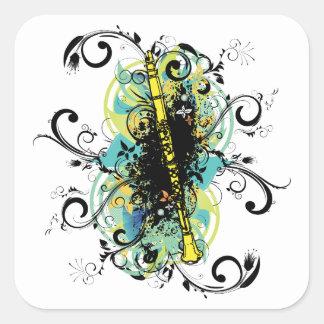 Swirl Grunge Clarinet Square Sticker