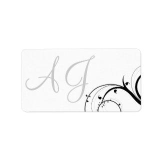 Swirl Monogram Wedding Invitation Address Labels