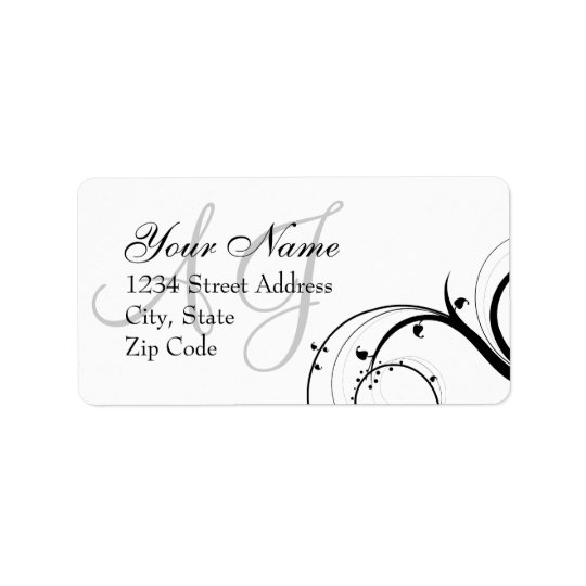 Swirl Monogram Wedding RSVP Envelope Address Label