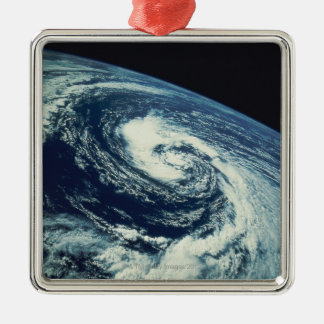 Swirl of Clouds over the Earth Silver-Colored Square Decoration