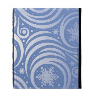 swirl of silver on blue,christmas pattern,modern,c iPad folio covers