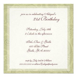 Swirl Pattern Birthday Party Invitations