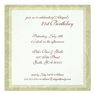 Swirl Pattern Birthday Party Invitations