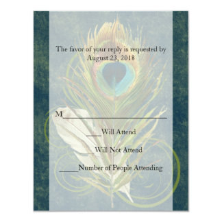 Swirl Peacock Feather -Click to View MATCHING SET- Custom Invites