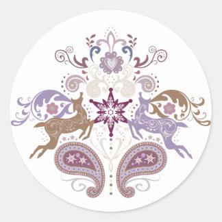 Swirl reindeer classic round sticker