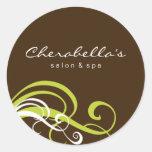 Swirl Salon spa sticker lime green brown