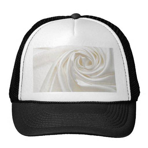 Swirl satin white wedding chic textile silk style trucker hats