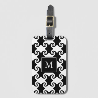 Swirl Shapes Celtic like Monogram Luggage Tag