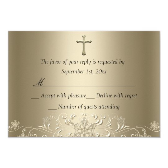 Swirl Snowflake & Cross Gold Baptism RSVP Card