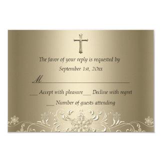Swirl Snowflake & Cross Gold Baptism RSVP 9 Cm X 13 Cm Invitation Card