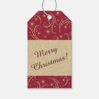 Swirl Stars Gold Holiday Gift Tags