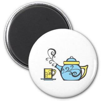 Swirl Teapot and Mug 6 Cm Round Magnet