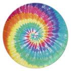 Swirl Tie Dye Multicolor Rainbow Plate