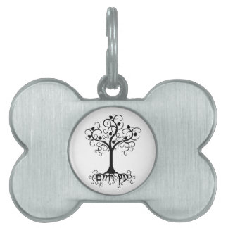 Swirl Tree of Life with Pomegranate Etz Chayim Pet Name Tags