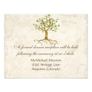 Swirl Tree Root Antiqued Sage Reception Invite