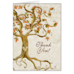 Swirl Tree Roots Antique Tan Custom Thank You Note Card