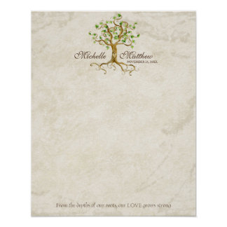 Swirl Tree Roots Antique Tan Wedding Signing Sheet Poster