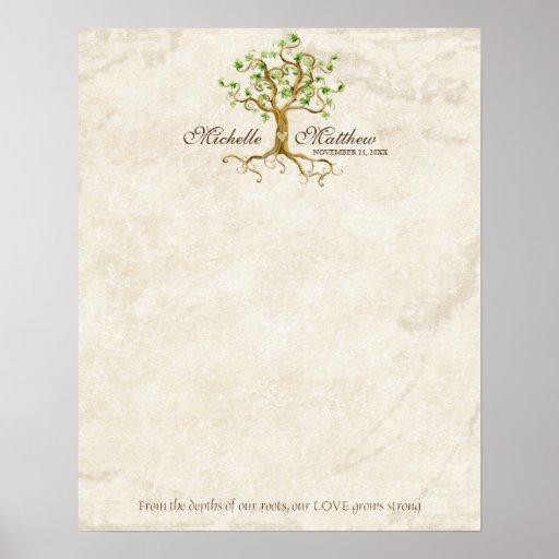 Swirl Tree Roots Antique Tan Wedding Signing Sheet Poster