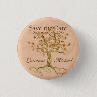 Swirl Tree Roots Antiqued Parchment Save the Date 3 Cm Round Badge