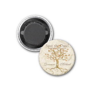 Swirl Tree Roots Antiqued Parchment Save the Date 3 Cm Round Magnet