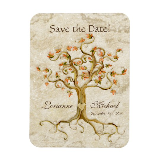 Swirl Tree Roots Antiqued Parchment Save the Date Rectangular Photo Magnet
