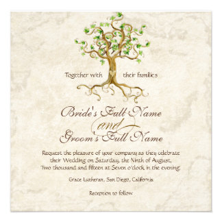 Swirl Tree Roots Antiqued Parchment Wedding Personalized Invitation