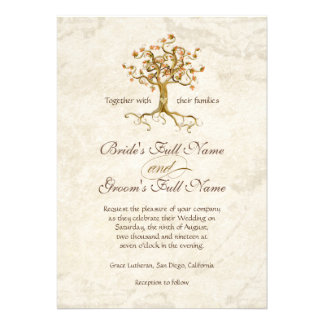 Swirl Tree Roots Antiqued Parchment Wedding Invitation