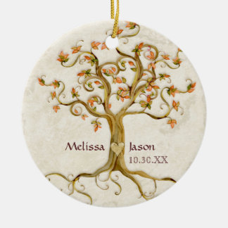 Swirl Tree Roots Antiqued Personalized Names Heart Christmas Ornament